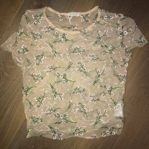 Urban Outfitters Sheer Mesh Nude Floral Top
